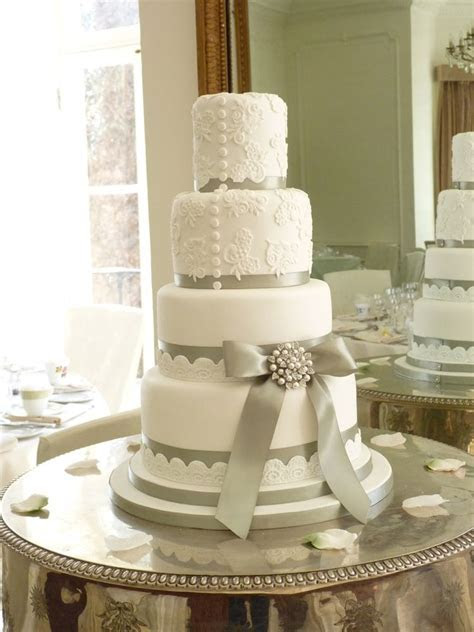 Wedding cake with silver ribbon