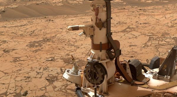 A close-up of the REMS (Rover Environmental Monitoring Station) experiment on the mast of NASA's Curiosity Mars rover.