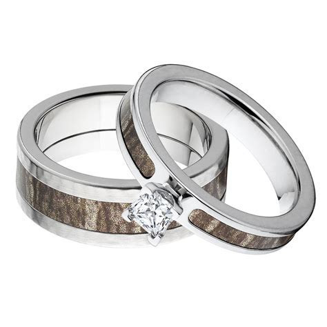 Mossy Oak Camo Rings, His And Her Camo Engagement Ring Set
