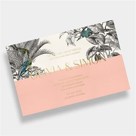 Tropical Wedding Invitation / Palms / Black   White