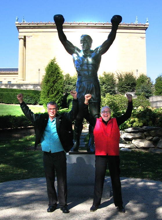 Bart Landau and Steve Schalchlin with the Rocky Balboa statue