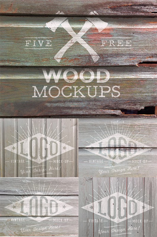 5 Free Weathered Wood Logo Mock Up Textures