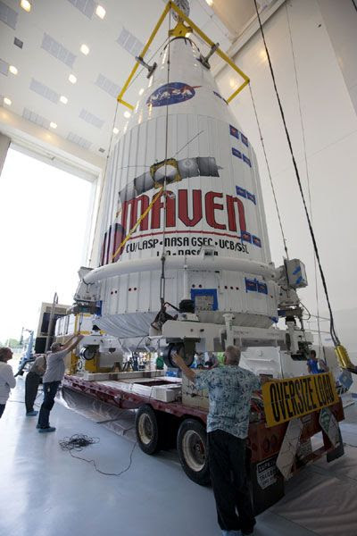 On November 6, 2013, the MAVEN spacecraft is ready to be mated to its Atlas V launch vehicle after being encapsulated within the rocket's payload fairing.