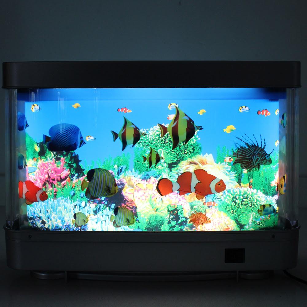 Decorative Led Night Light With Moving Fish Decorative Rotating ...