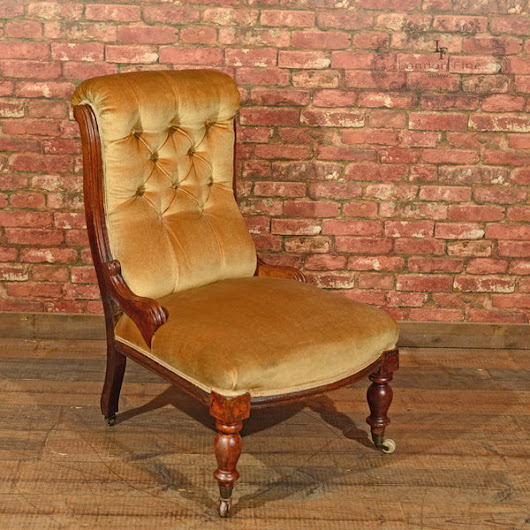 Victorian Walnut Side Chair, Upholstered, c.1880 – London Fine Antiques