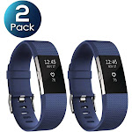 2 Pack Zodaca For Fitbit Charge 2 Adjustable Replacement TPU Sport Band Strap Wristband w/Metal Buckle Clasp - Dark Blue