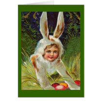 Vintage Easter Girl in Bunny Costume Card