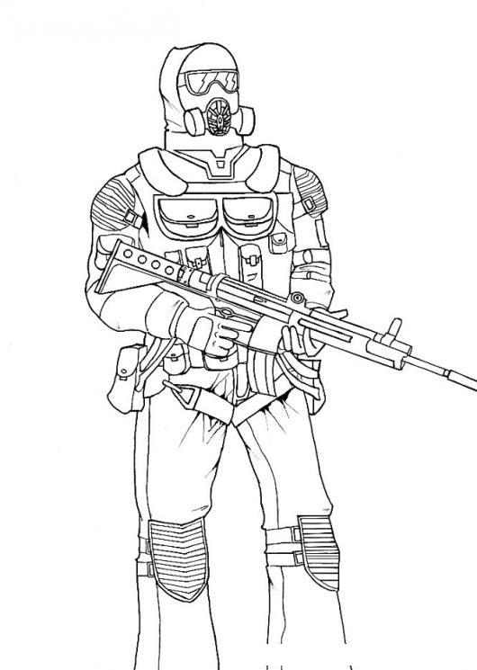 Dibujo De Soldado De Guerra Quimica Con Mascara De Oxigeno Para