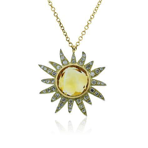 Meira T 14k Yellow Gold Citrine & Diamonds Sun Necklace
