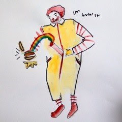 Happy Meal/Mearde<br />Watercolour and Marker on Paper<br />29.7cm x 42cm