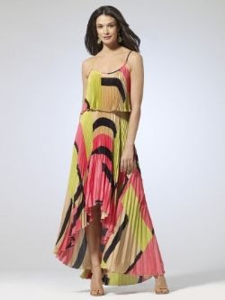 Cache Pleated Hi-Low Print Dress