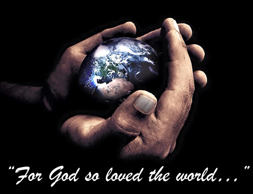 [Photo of the globe in God's hands with Scripture verse superimposed]