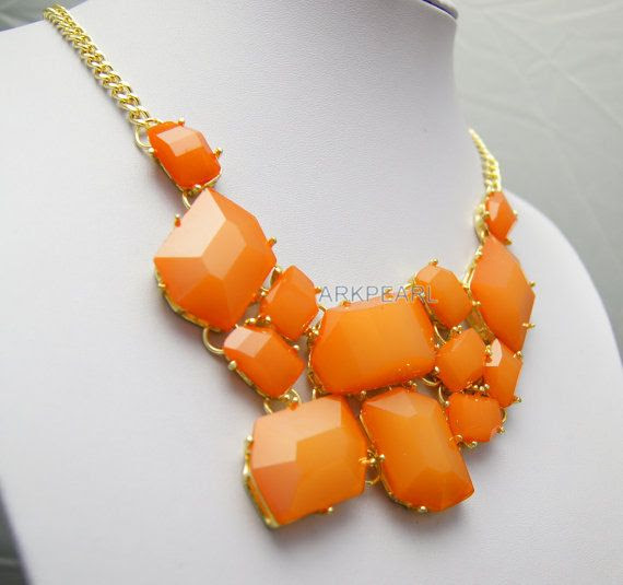 sexy orange Necklace, Free Form Jewelry, Statement Necklace, Bib Necklace, Chunky Jewelry, Popular Necklace