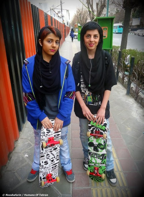 haveyouevercriedwolf:  Skater girls seen in Vanak Square in Tehran, Iran. [photo cred: Nooshafarin, Humans of Tehran]
