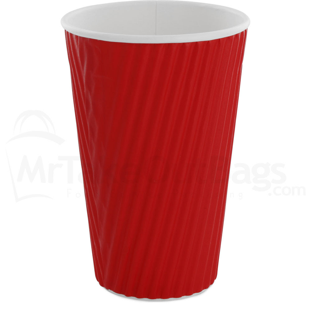 16 Oz Red Insulated Ripple Wrap Paper Coffee Cups Insulated Paper Ripple Coffee Cups Mrtakeoutbags