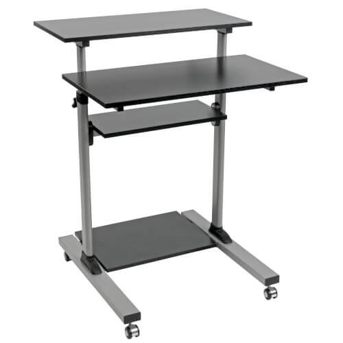 Rolling Standing Desk/Workstation on Wheels, Height Adjustable, Mobile | Tripp Lite