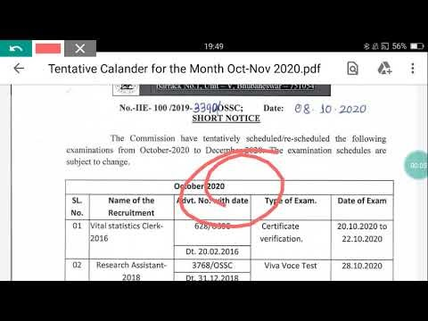 OSSC Exam date (Calender) Release of October and November 2020
