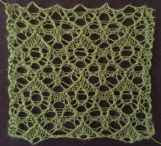 Fruitbat: a free lace knitting stitch pattern.