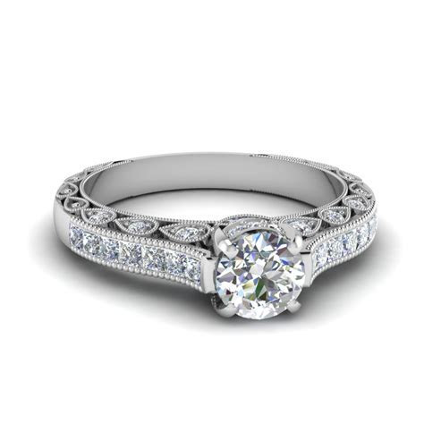 Princess Cut Channel Accent Diamond Engagement Ring In 14K