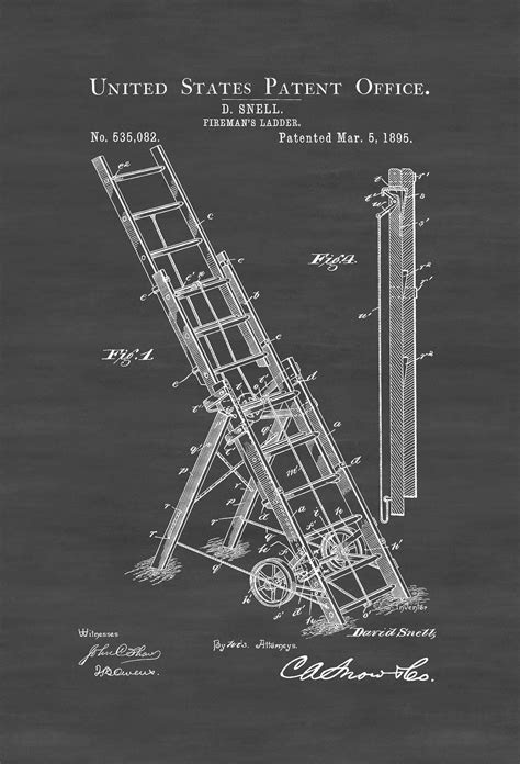 1895 Fireman's Ladder Patent – Patent Print, Wall Decor