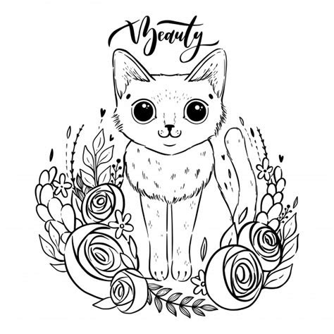 coloring page  cartoon fluffy cat  roses siamese