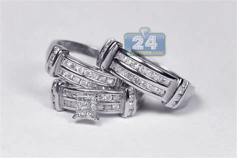 Mens Womens Diamond Wedding Bands Rings Set 14K Gold 1.34 ct