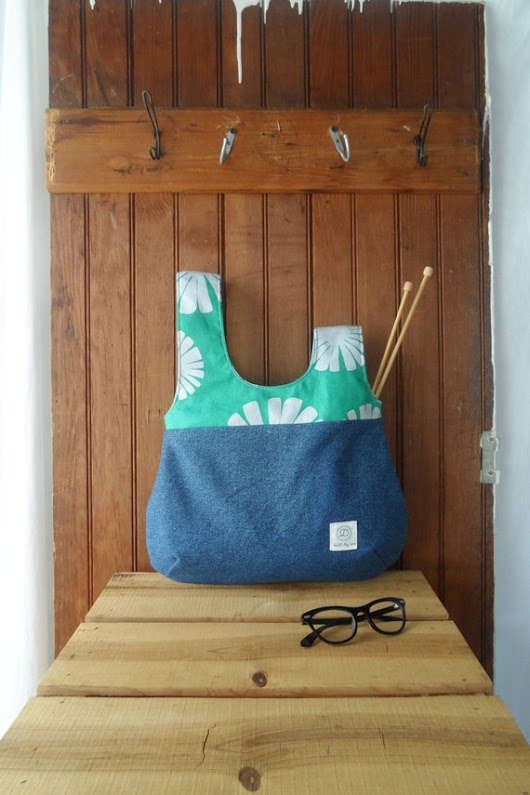 Knot Bag  recycled denim lined canvas knitting project by ddidit