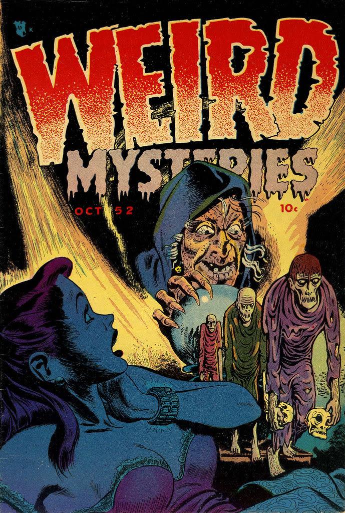 Weird Mysteries #1 Bernard Bailey Cover (Gillmor, 1952)Partial Basil Wolverton cover