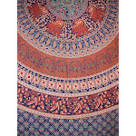 """Indian Mandala Printed Tapestry Cotton Bedspread 92"""" x 82"""" Full Blue"""