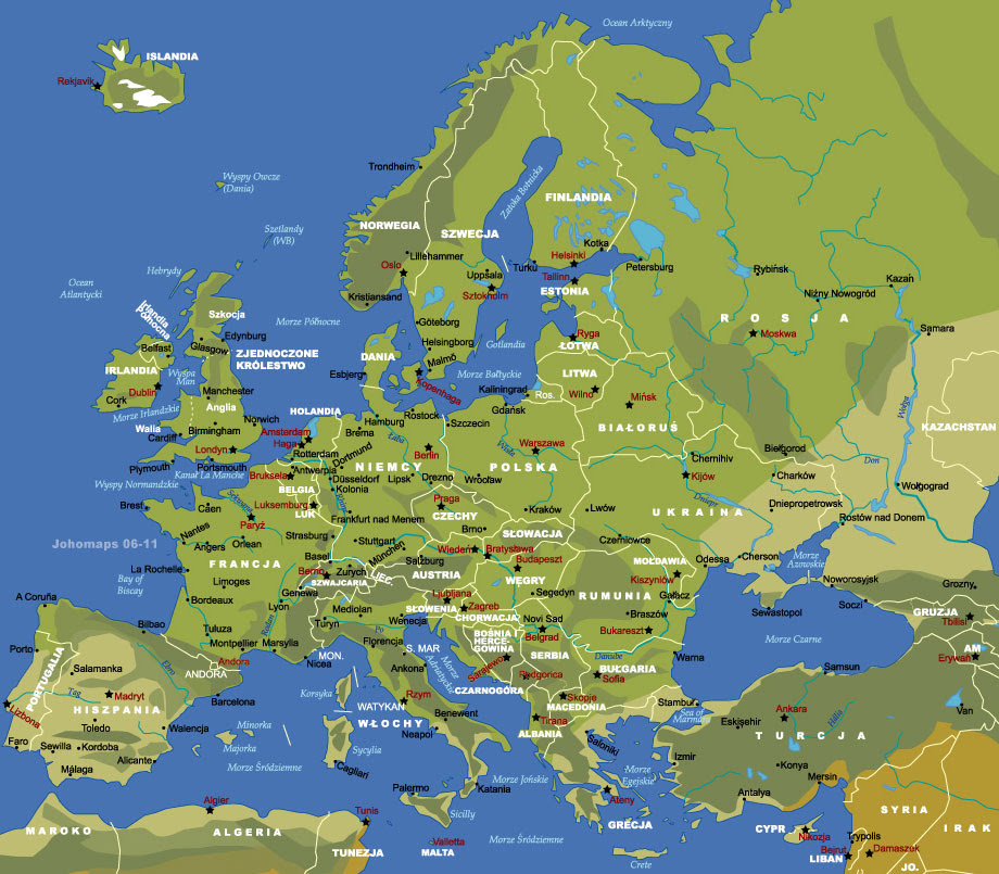 Mapa Europy I Azji Mapa