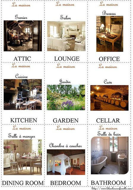 petites cartes d'anglais la maisonAAAAAAAAAAAAAAAA