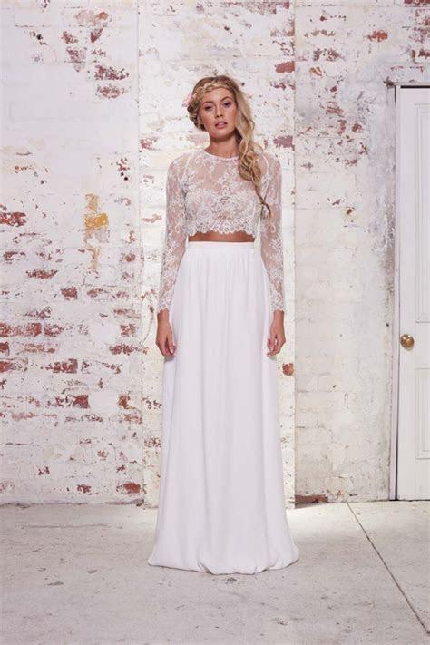 Lace Long Sleeve Two Piece Bohemian Wedding Dresses 2016