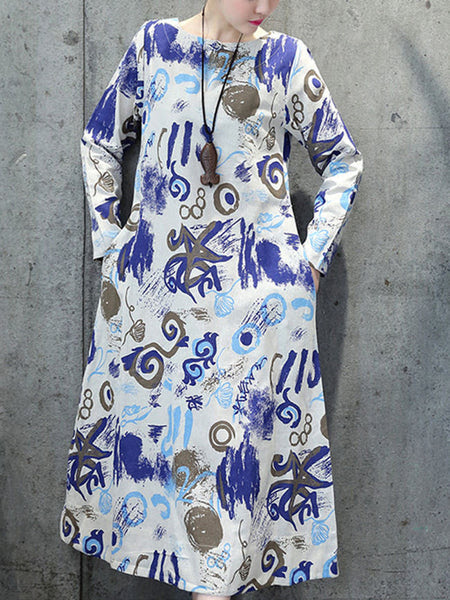 Abstract Print Cotton Maxi Dress