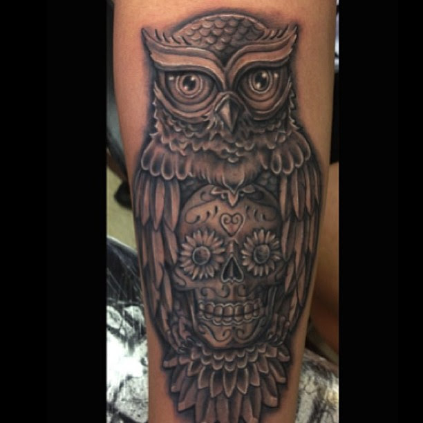 Simple Owl And Skull Tattoo Tattoomagz