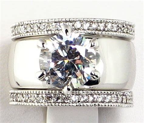 4.28 CT. Wide Solitaire CZ ETERNITY BAND Bridal Wedding 3
