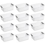 12) Sterilite 16228012 Small Ultra Plastic Storage Bin Organizer Baskets -White by VM Express