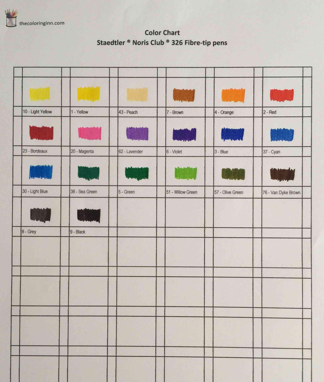 Staedtler Noris Club 326 Fibre tip Color Chart