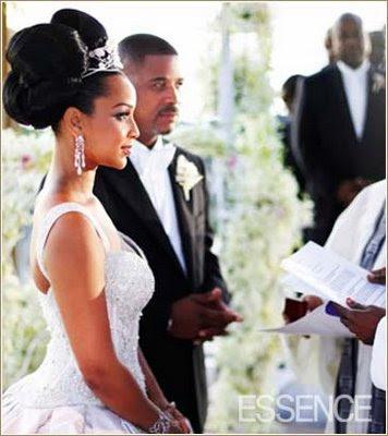 Lisa Raye wedding big bun hairstyle