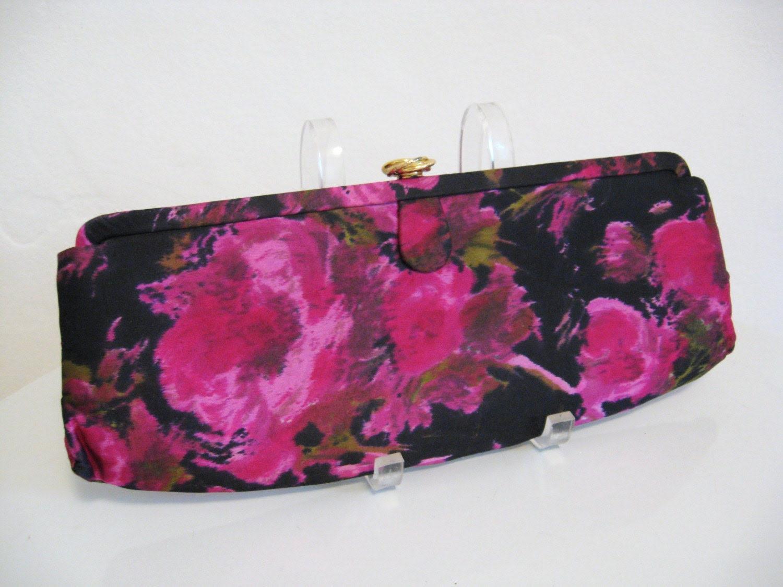 50s vintage HOT PINK  ROSES silk CLUTCH bag purse
