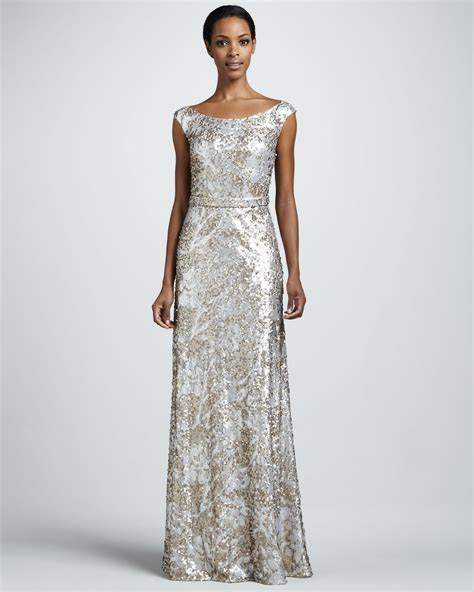 Silver champagne sequin long wedding guest dress   OneWed.com