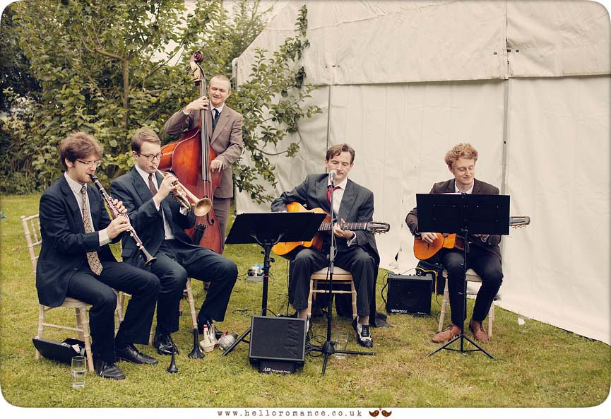 Benoit Viellefon and his Orchestra Jazz band playing at wedding in Wilby, Eye, Suffolk - www.helloromance.co.uk