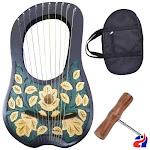 Green Gold Leaves 10 metal strings lyre harp rosewood