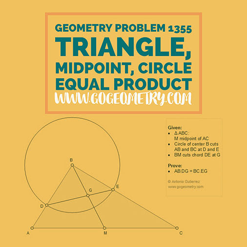 Geometric Art Typography of Geometry Problem 1355: Triangle, Midpoint, Median, Circle, iPad Apps.