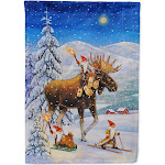 Christmas Gnome Riding Reindeer Flag Canvas House Size ACG0102CHF