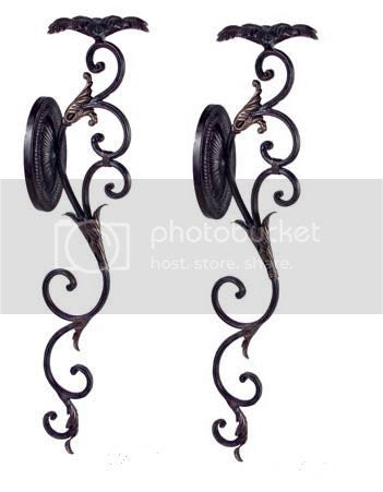 Tuscan s 2 Scrolling Floral Iron Wall Pillar Candle Holder Scroll ...
