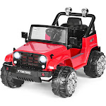 Gymax 12V Kids Ride on Truck Jeep Car RC Remote Control w/ LED Lights Music MP3 Red