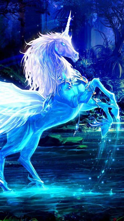 unicorn water forest night magic wallpaper hd wallpapers