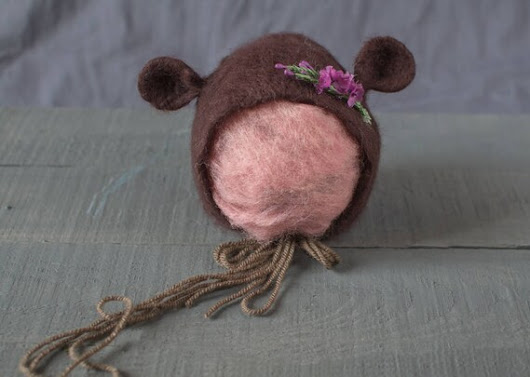 The Dark Brown Teddy Bear bonnet with flowers / Ready to
