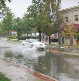 Flooding on Lancaster Avenue in Bryn Mawr, Pa., Sunday, Aug. 29.