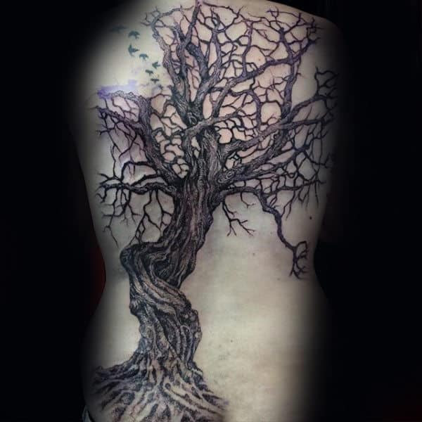 40 Tree Back Tattoo Designs For Men Wooden Ink Ideas